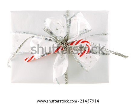Beautifully packed gift box isolated on white - stock photo
