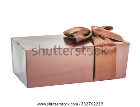 Beautifully packed surprise, gift, brown color, isolated on the white - stock photo