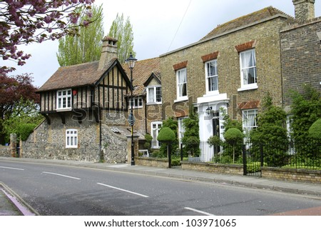 Beautifully restored homes in Sandwich, Kent, UK - stock photo