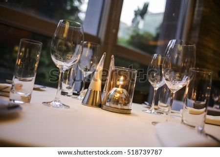 Beautifully set dinner table in a restaurant. & Beautifully Set Dinner Table Restaurant Stock Photo u0026 Image (Royalty ...