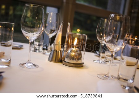 Beautifully set dinner table in a restaurant. & Beautifully Set Dinner Table Restaurant Stock Photo (Royalty Free ...