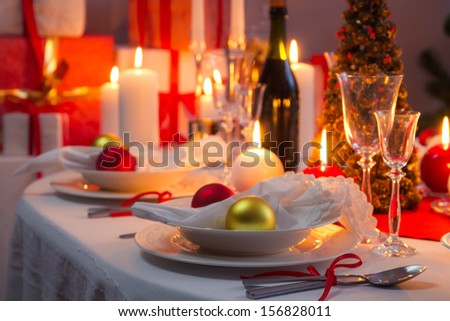 Beautifully setinng table for Christmas Eve - stock photo