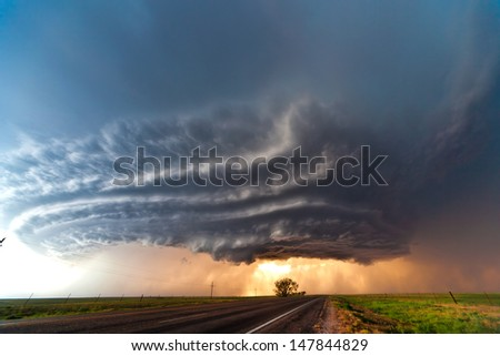 Beautifully structured supercell thunderstorm in American Plains - stock photo