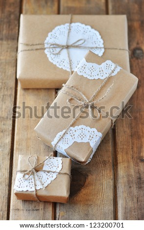 Beautifully wrapped presents - stock photo