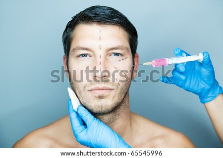 Beautifying a male with an injection