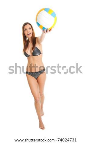 Beautilful volleyball player woman in swimwear - stock photo