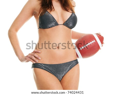 Beautilful woman posing with football ball - stock photo