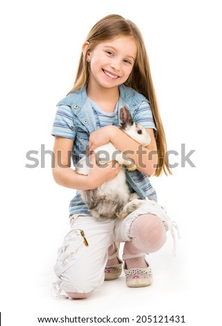 beautuful little girl with Easter bunny isolated on a white background - stock photo