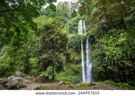 Beautuful waterfall near Rinjani, Senaru, Lombok, Indonesia - stock photo