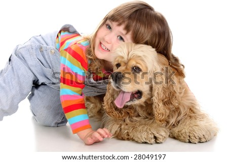 beauty a little girl and American Cocker Spaniel - stock photo