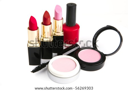 beauty accesories makeup set over white background - stock photo