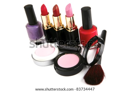 beauty accessories makeup set over white background - stock photo
