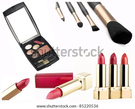 beauty accessories set isolated over white background - stock photo