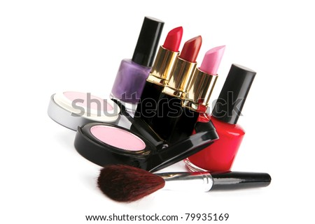 beauty accessories set isolated over white background . shallow dof - stock photo