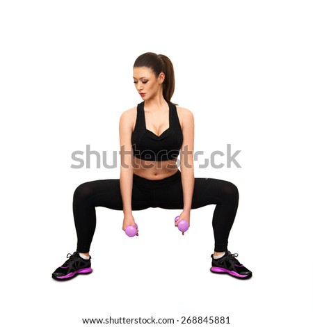 Beauty adult caucasian woman doing fitness isolated on white background - stock photo