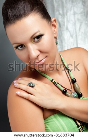 beauty adult woman on the grey background - stock photo