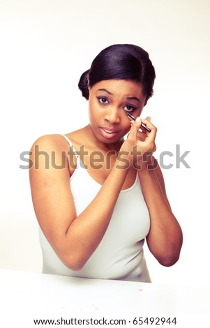 beauty african woman on white background - stock photo