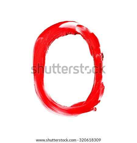 "Beauty alphabet - big red lipstick letters isolated on white background. ""O"" letter."