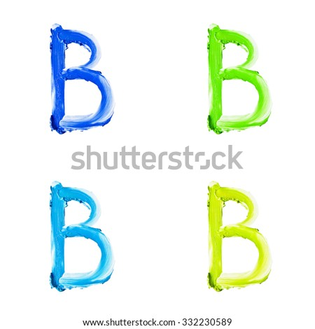 """Beauty alphabet set - blue, green and yellow dye letters isolated on white background. """"B"""" letter. - stock photo"""