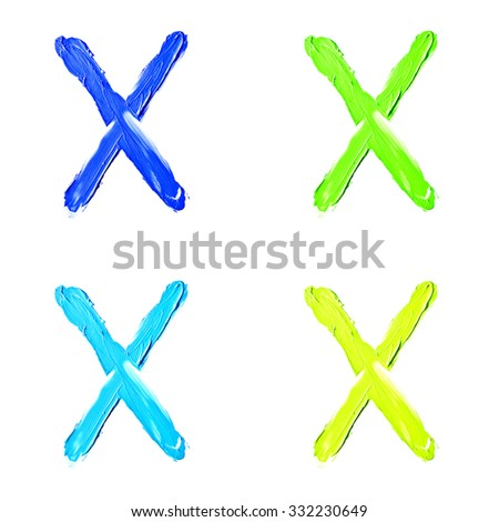 """Beauty alphabet set - blue, green and yellow dye letters isolated on white background. """"X"""" letter. - stock photo"""