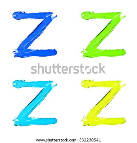 """Beauty alphabet set - blue, green and yellow dye letters isolated on white background. """"Z"""" letter. - stock photo"""