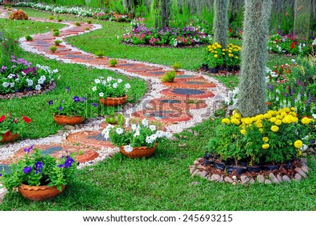 Beauty and art of pavement decorate in garden. - stock photo