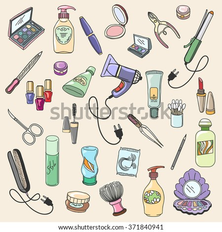 Beauty and cosmetic hand drawn items