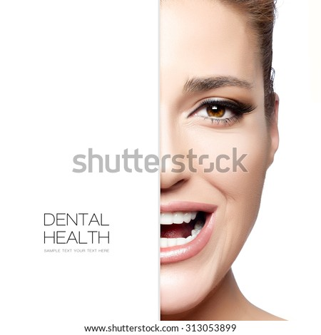 Beauty and dental health concept with a half face portrait of a gorgeous happy woman with a beautiful big smile. healthy mouth and clean skin. Dental treatment. Template design with sample text - stock photo