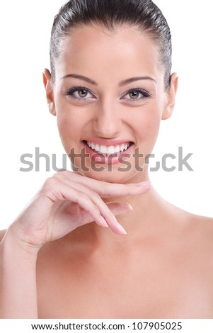 Beauty and freshness of the young girl with perfect skin - white background - stock photo