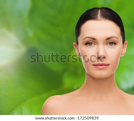 beauty and health concept - face and shoulders of beautiful woman - stock photo
