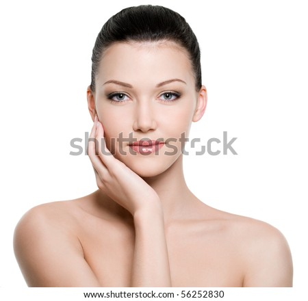 Beauty and health of young woman - isolated on white background - stock photo