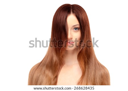 Beauty and health. Portrait of young beautiful woman with long magnificent hair