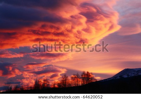 beauty and majestic sunrise at autumn - stock photo