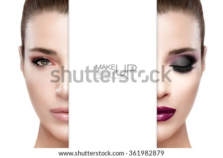 Beauty and Makeup concept. Two half faces of a beautiful young woman.  Professional makeup. Perfect skin. Trendy lips. Smoky eyes. Fashion eyelashes. Two high fashion portraits isolated. Sample text - stock photo