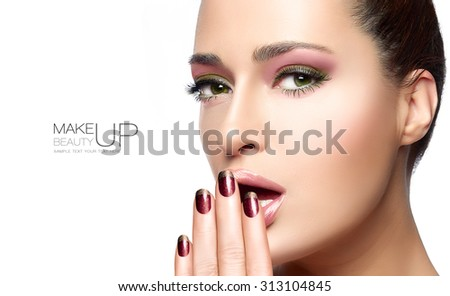 Beauty and makeup concept with a face portrait of a gorgeous woman with healthy clean skin and blank copyspace alongside with sample text. Template design - stock photo