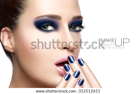 Beauty and Makeup concept with Beautiful young woman with hands on her face covering mouth. Perfect skin. Trendy nail art and makeup. Close up Portrait isolated on white with sample text - stock photo