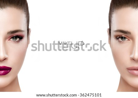 Beauty and makeup concept with two half views of the face of a gorgeous brunette woman on either side of the frame, one with makeup and one natural without. Two portraits isolated with sample text - stock photo