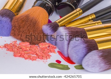 Beauty and makeup materials and products. - stock photo