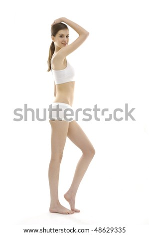 Beauty and perfect female body in underwear - stock photo