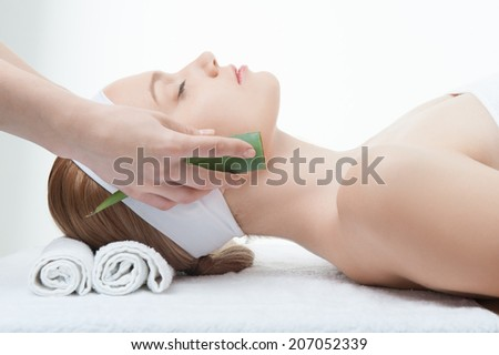 Beauty and relaxation concept, attractive woman in spa salon lying on the massage desk with aloe, side view isolated on white - stock photo