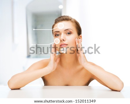 beauty and skin care concept - face of beautiful woman with dry skin examples - stock photo