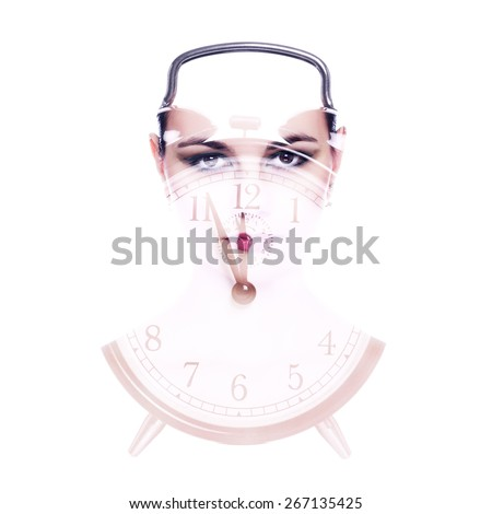 Beauty and time. Face of a beautiful woman in the form of an alarm clock. Conceptual photo with the effect it double exposure. - stock photo