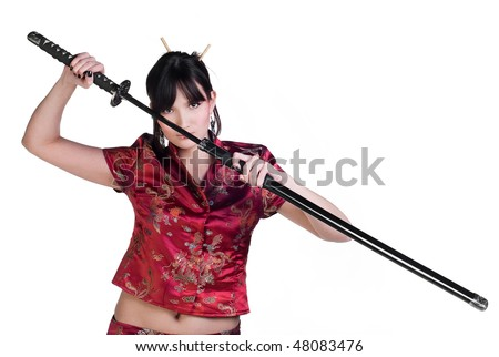 beauty asian girl with katana isolated on white background