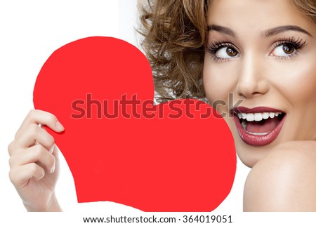beauty attractive smiling young woman portrait isolated on white face skin toothy smile teeth lips red heart valentine's love - stock photo