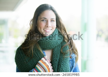 beauty attractive young caucasian woman blond in warm colorful clothing - stock photo