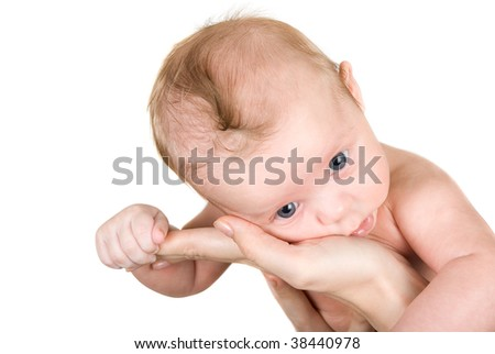 Beauty baby boy isolated on a white background - stock photo