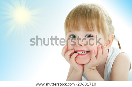 beauty baby face on white background - stock photo