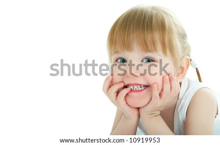 beauty baby face on white background - 3 years old - stock photo