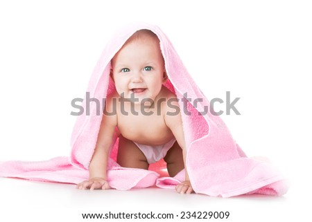 beauty baby in towel on white background - stock photo