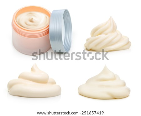 Beauty balm container and cream on white background. - stock photo